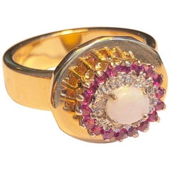 Fashion Ring Anne Bourat 1 Opale 8 Diamonds 18 Rubies Yellow Gold 18k Metric 54