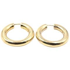 18 Karat Yellow Gold Heavy Hoop Earrings