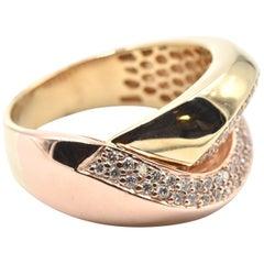 0.70 Carat Diamond 14 Karat Rose Gold Crossover Ring