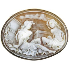 14 Karat Gold Shell Cameo Brooch Pendant, Sitting Pretty