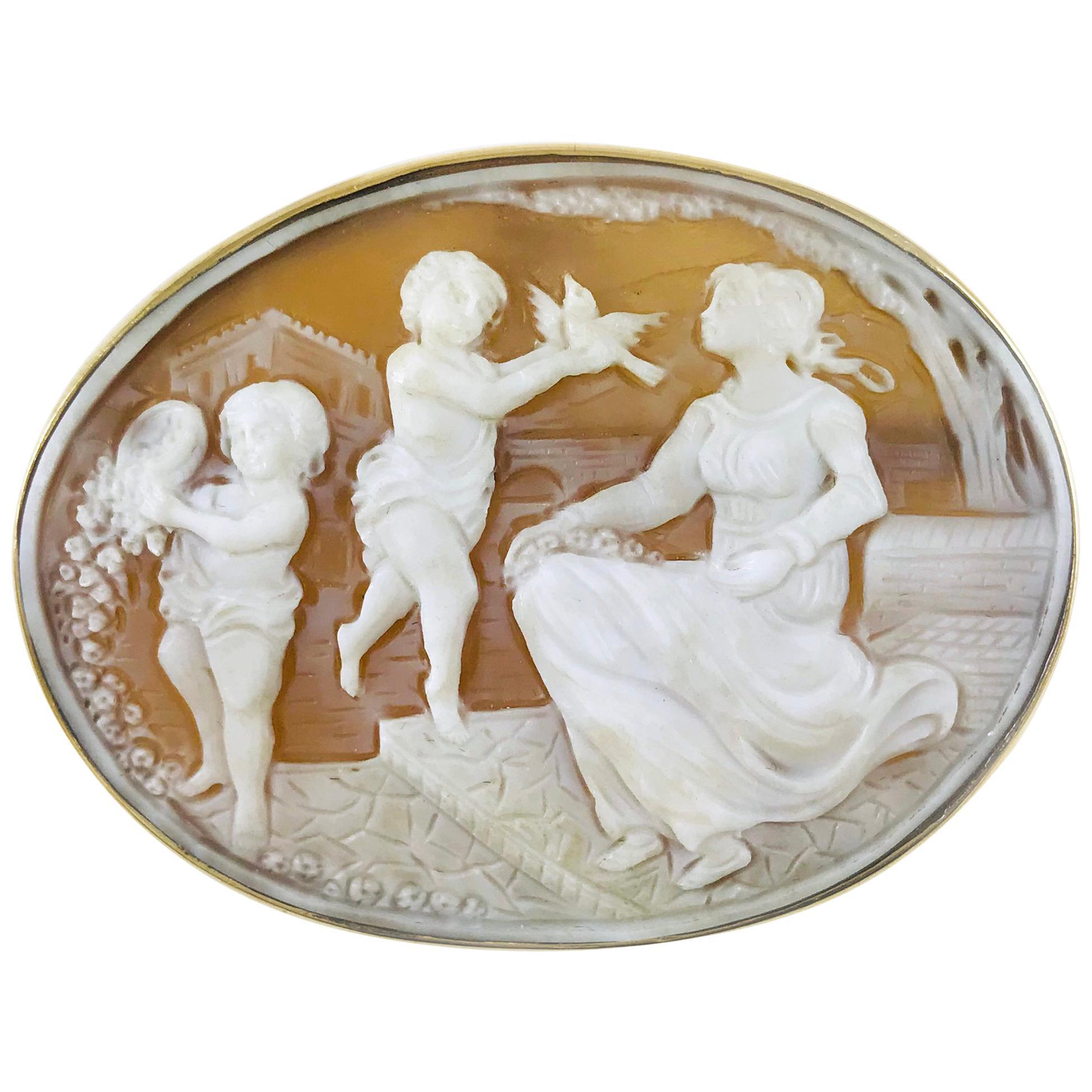 14 Karat Gold Shell Cameo Brooch Pendant, Mother and Children