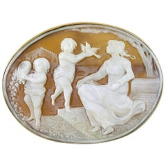 14 Karat Gold Shell Cameo Brooch Pendant, Mother and Children