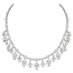 45 Carat VS, E Pear Marquise and Round Diamond Necklace in Platinum, Bridal