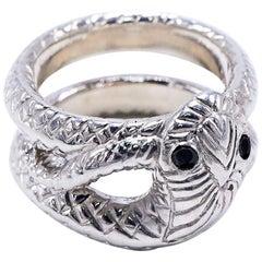 Snake Ring Black Diamond Victorian Style Silver J Dauphin