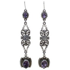 Jill Garber Amethyst Drop Earrings with Antique French Sacred Heart Medals