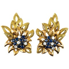 14 Karat Rose and Yellow Gold Flower Shaped Sapphire Diamond Earrings