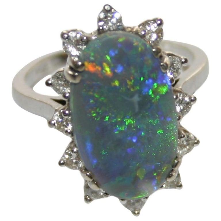 14 Karat White Gold Ladies Australian Black Opal and Diamond Cocktail Ring For Sale