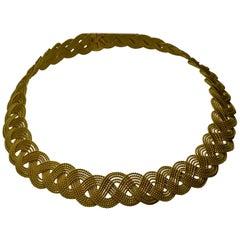22 Karat Yellow Gold Necklace Woven Fancy Lace Design