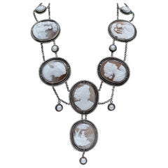 Jill Garber Elizabethan Style Necklace of the Gods with 19th Century Cameo Suite