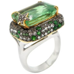 Important 13.58 Carat Fluorite Gold Ring Tsavorite Smoky Topaz