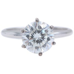Leo Diamond Engagement Ring Round 2.00 Carat I SI1 14 Karat White Gold