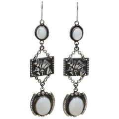 Jill Garber Sterling Silver Repousse' Relief with Mother of Pearl Drop Earrings