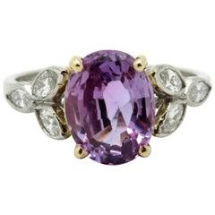 Platinum and 18 Karat Art Deco Purple Pink Sapphire and Diamond Ring