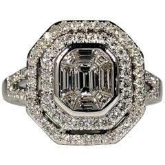 White Diamond Cluster Ring Round Brilliant Cut Halo & Baguette Cut 1.50ct 18k