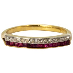Art Deco Ruby and Diamond Half Eternity Band