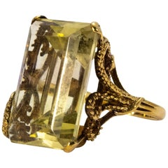 Large 1940s Gold Citrine Dress Ring with Ornate Gold Shank