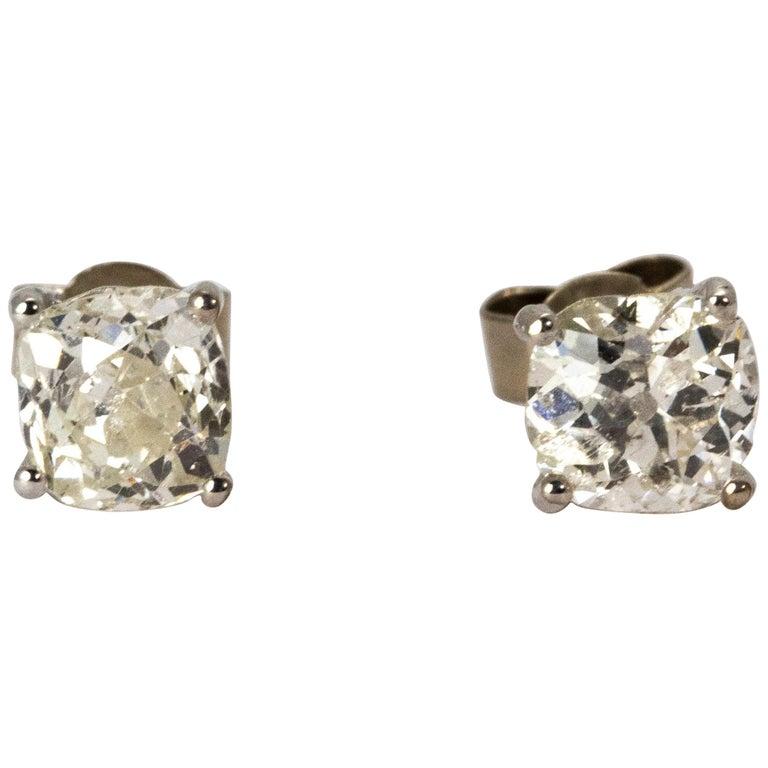 Art Deco Certified 1.9 Carat Diamond Stud Earrings For Sale