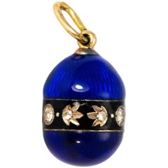 Victorial Royal Blue Enamel Egg