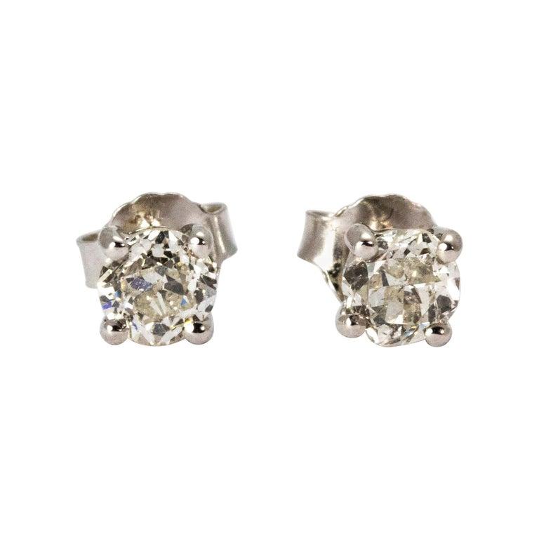 Art Deco Diamond Stud Earrings For Sale