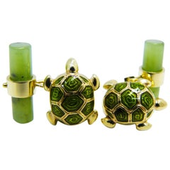 Hand Enameled Little Turtle Shaped Natural Jade Back Yellow Gold Cufflinks