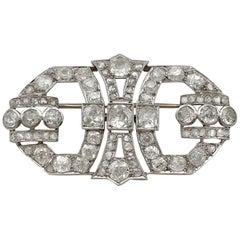 1930s Art Deco French 6.32 Carat Diamond Platinum Brooch