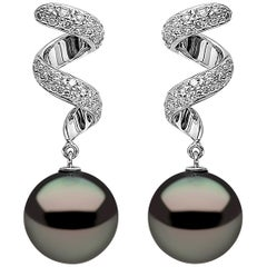 Yoko London Tahitian Pearl and Diamond Earrings Set in 18 Karat White Gold