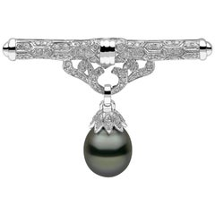 Yoko London Tahitian Pearl and Diamond Brooch, Set in 18 Karat White Gold