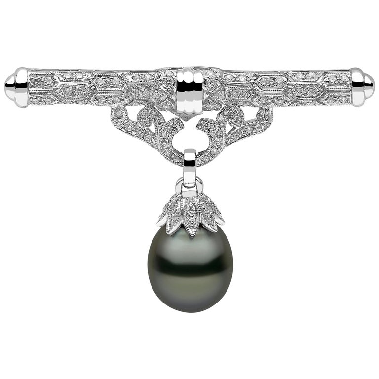 Yoko London Tahitian Pearl and Diamond Brooch, Set in 18 Karat White Gold For Sale