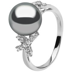 Yoko London Tahitian Pearl and Diamond Ring Set in 18 Karat White Gold