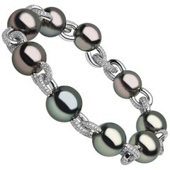 Yoko London Tahitian Pearl and Diamond Bracelet Set in 18 Karat White Gold