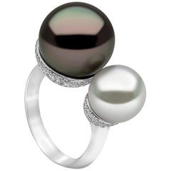 Yoko London South Sea Pearl, Tahitian Pearl and Diamond Ring in 18 Karat Gold