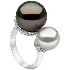 Yoko London South Sea Pearl, Tahitian Pearl and Diamond Ring in 18 Karat Gold