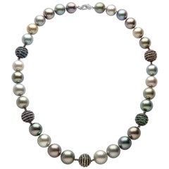Yoko London Tahitian Pearl, Diamond and Sapphire Necklace Set in 18 Karat Gold