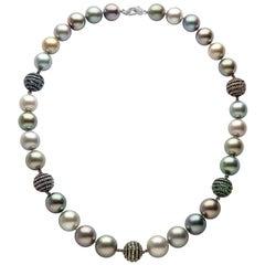 Yoko London Tahitian Pearl, Diamond and Sapphire Necklace Set in 18 Karat Gold