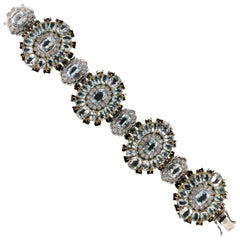 Brazilian Aquamarine 18 Karat Yellow/White Gold Sapphires Diamonds Cuff Bracelet