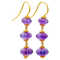 Scrives Amethyst Watermelon 22 Karat Gold Earrings