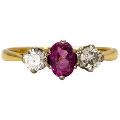 Vintage Ruby and Diamond Three-Stone Ring