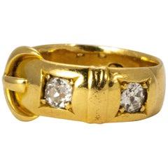 Victorian 18 Karat Gold Diamond Buckle Ring