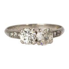 "1920s Platinum ""Moi Et Toi"" Diamond Ring"