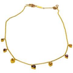 Edwardian 18 Karat Gold Graduated Citrine and Almandine Garnet Heart Necklace