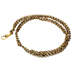 Edwardian Yellow Gold Chain with Dog Clip Fastening