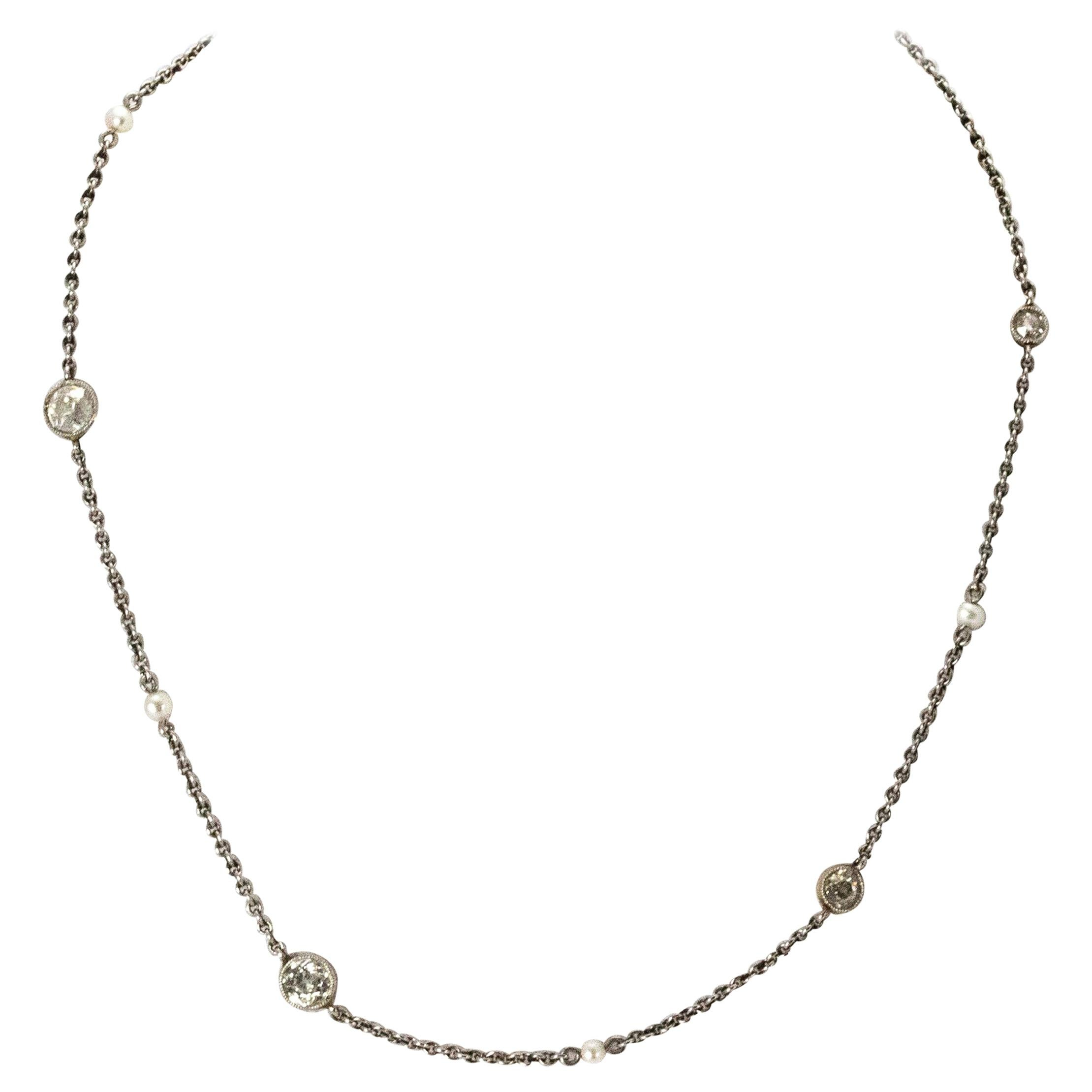 Art Deco Diamond and Natural Pearl Platinum Chain Necklace