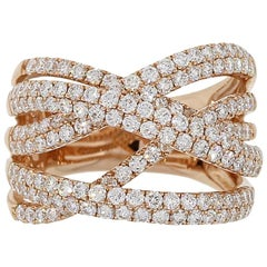 Round Brilliant Diamond Crossover Wide Ring