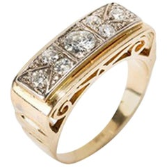 Gold Ring with Diamonds, 14 Carat, Europe, 1930s