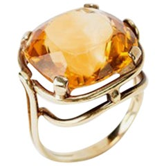 Gold Ring with Cushion Cut Citrine, 14 Carat, 1920s