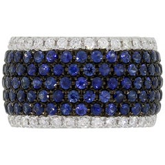 Sapphire and Diamond Wide Eternity Band
