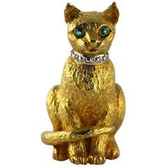 Tiffany & Co. Gold Emerald Diamond Cat Brooch