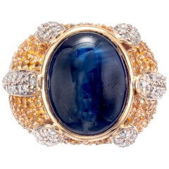 14.83 Carat Sapphire Diamond 14 Karat Yellow Gold Cocktail Ring