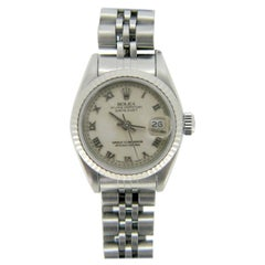 Rolex Oyster Perpetual Datejust 69000A White Gold Stainless Steel Ladies Watch