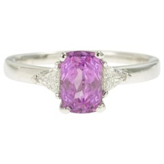 1.70 Carat Non Heated Pink Sapphire and Troidia Diamonds 18 Karat Gold Ring